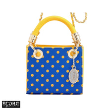 SCORE! Jacqui Classic Designer Stadium Approved Top Handle Satchel Polka Dot Detachable Chain Crossbody Square Game Day Bag Event Team Sorority Purse - Royal Blue and Yellow Gold