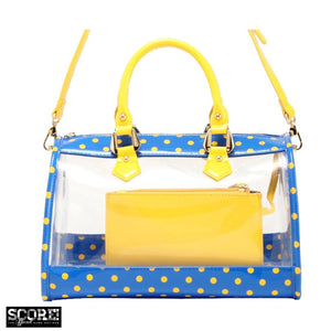 SCORE! Moniqua Large Designer Clear Crossbody Satchel - Imperial Royal Blue and Yellow Gold