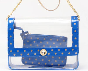 Chrissy Medium Clear Game Day Handbag - Imperial Blue and Metallic Gold