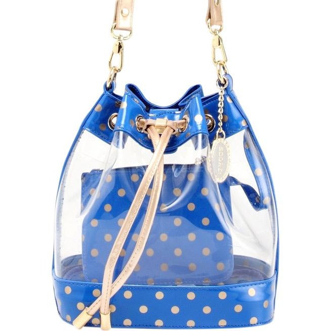 SCORE! Clear Sarah Jean Designer Stadium Shoulder Crossbody Purse Polka Dot Boho Bucket Game Day Bag Tote - Royal Blue and Gold Gold