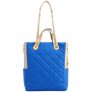 SCORE!'s Kat Travel Tote for Business, Work, or School Quilted Shoulder Bag - Imperial Royal Blue and Gold Gold