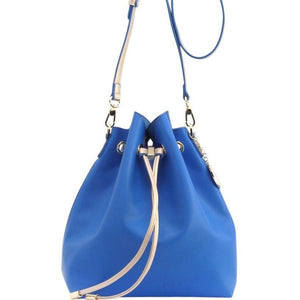 SCORE! Sarah Jean Designer Shoulder Crossbody Purse Solid Extra Large Boho Bucket Game Day Bag Tote - Royal Blue and Gold Gold