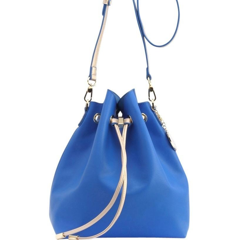 Sarah Jean Solid Bucket Handbag - Imperial Blue and Gold