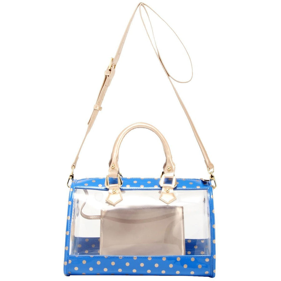 Moniqua Clear Satchel - Imperial Blue and Metallic Gold