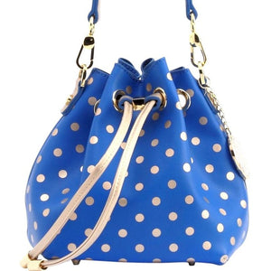 SCORE! Sarah Jean Designer Small Stadium Shoulder Crossbody Purse Polka Dot Boho Bucket Game Day Bag Tote - Royal Blue and Gold Gold