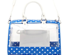 SCORE! Moniqua Large Designer Clear Crossbody Satchel - Imperial Royal Blue and White