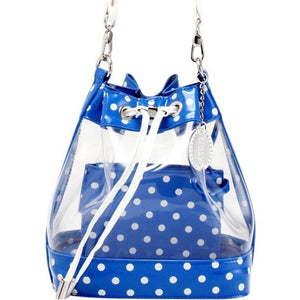 SCORE! Clear Sarah Jean Designer Stadium Shoulder Crossbody Purse Polka Dot Boho Bucket Game Day Bag Tote - Royal Blue and White