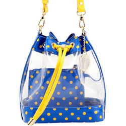 Sarah Jean Clear Bucket Handbag - Imperial Blue and Yellow Gold