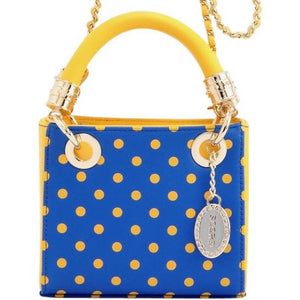 Score! Jacqui Classic Top Handle Crossbody Satchel - Royal Blue and Yellow Gold