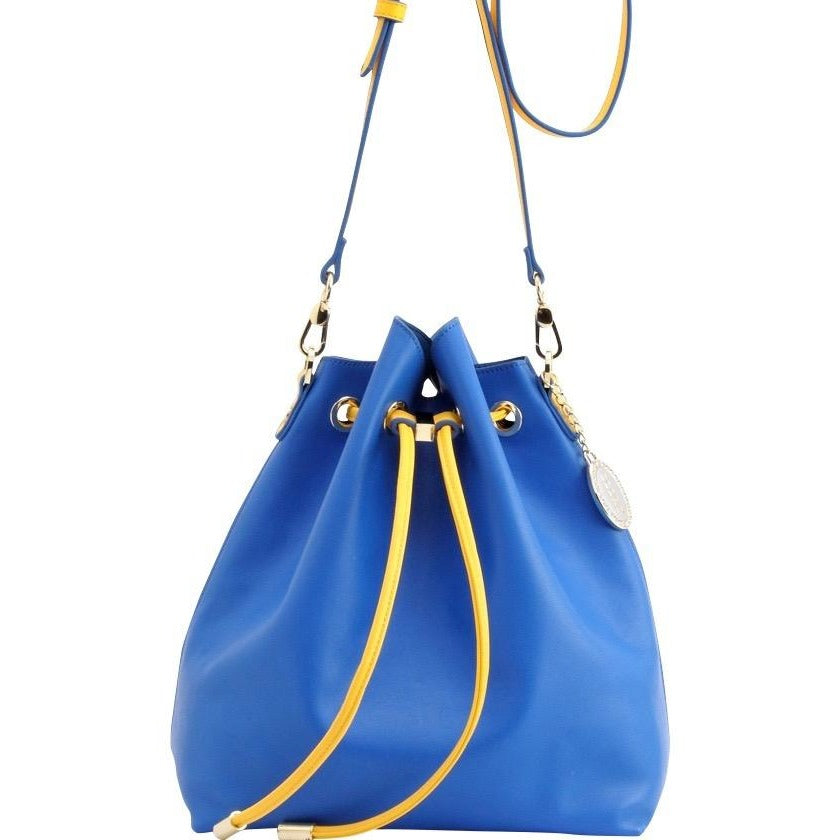 SCORE! Sarah Jean Designer Shoulder Crossbody Purse Solid Extra Large Boho Bucket Game Day Bag Tote - Royal Blue and Gold Yellow