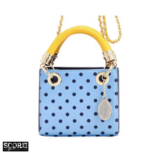 SCORE! Jacqui Classic Top Handle Crossbody Satchel - Light Blue, Navy Blue and  Yellow Gold
