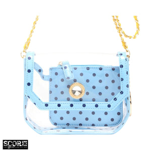 SCORE! Chrissy Small Designer Clear Crossbody Bag - Light Blue, Navy Blue and Yellow Gold