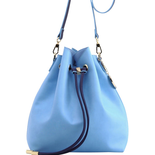 SCORE! Sarah Jean Crossbody Large BoHo Bucket Bag - Light Blue and Navy Blue