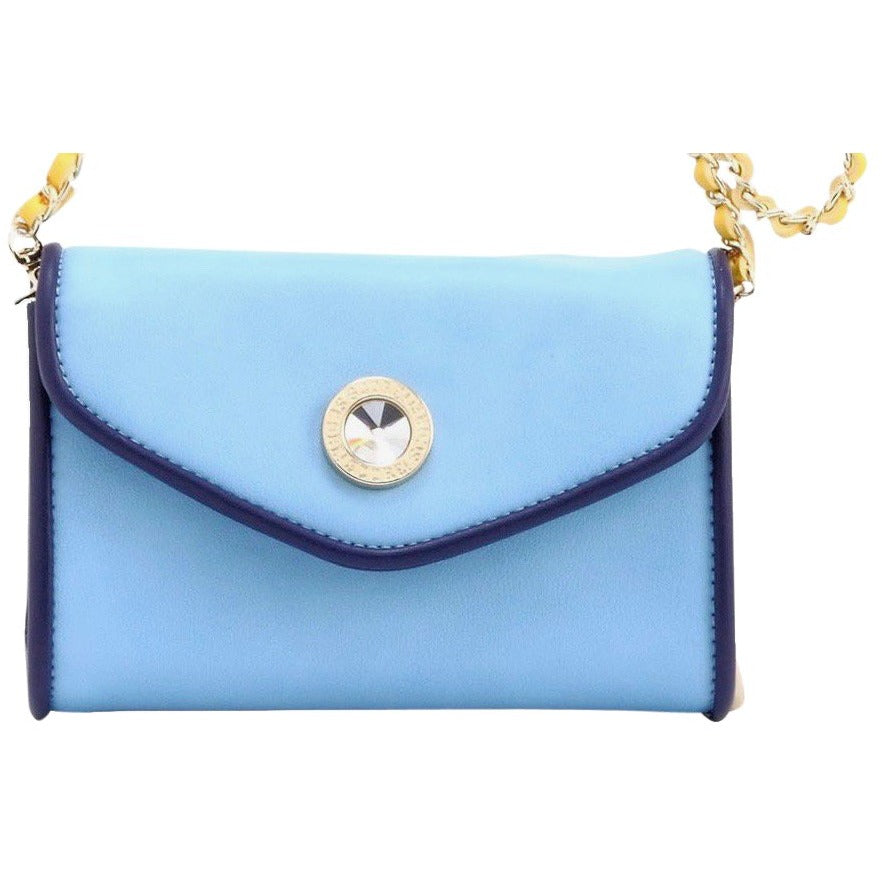 SCORE! Eva Designer Crossbody Clutch - Light Blue, Navy Blue and Gold Yellow