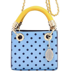 Jacqui Classic Satchel Polka Dot - Light Blue, Navy Blue and Yellow Gold