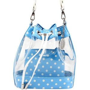 SCORE! Clear Sarah Jean Designer Crossbody Polka Dot Boho Bucket Bag-Light Blue and White