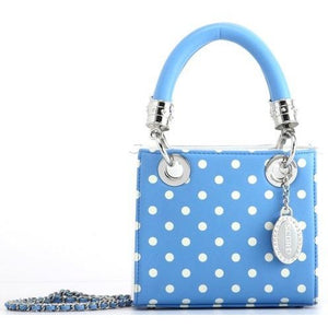 SCORE! Jacqui Classic Designer Stadium Approved Top Handle Satchel Polka Dot Detachable Chain Crossbody Square Game Day Bag Event Team Sorority Purse - Light Blue and White