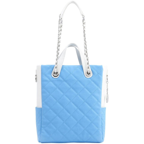 SCORE!'s Kat Travel Tote for Business, Work, or School Quilted Shoulder Bag - Light Blue and White