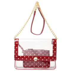 Chrissy Medium Clear Game Day Handbag - Maroon and Metallic Gold