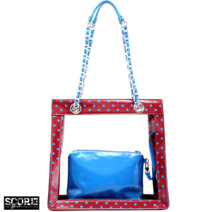 SCORE! Andrea Large Clear Designer Tote for School, Work, Travel - Maroon and Blue