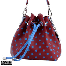 SCORE! Sarah Jean Designer Small Stadium Shoulder Crossbody Purse Polka Dot Boho Bucket Game Day Bag Tote - Maroon and Blue Pi Beta Phi