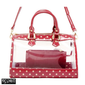 SCORE! Moniqua Large Designer Clear Crossbody Satchel - Maroon and Gold