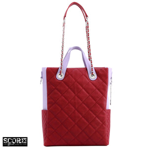 SCORE!'s Kat Travel Tote for Business, Work, or School Quilted Shoulder Bag - Maroon and Lavender