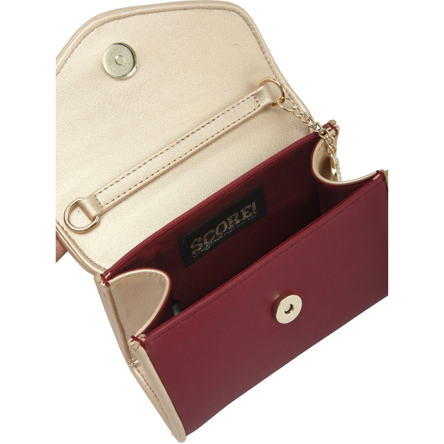 Eva Classic Clutch - Maroon and Gold