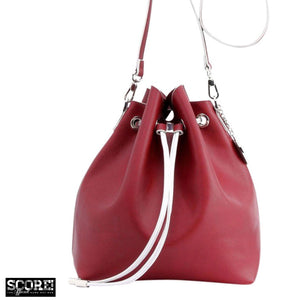 SCORE! Sarah Jean Designer Shoulder Crossbody Purse Solid Extra Large Boho Bucket Game Day Bag Tote - Maroon Crimson and Silver Alpha Phi