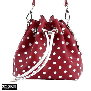 SCORE! Sarah Jean Designer Small Stadium Shoulder Crossbody Purse Polka Dot Boho Bucket Game Day Bag Tote - Maroon Crimson and Silver