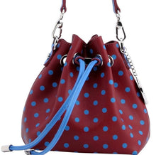 SCORE! Sarah Jean Small Crossbody Polka dot BoHo Bucket Bag - Maroon and Blue Pi Beta Phi, Pi Phi Sorority, Colorado Avalanche, South Carolina State Bulldogs