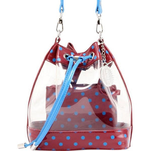 SCORE! Clear Sarah Jean Designer Crossbody Polka Dot Boho Bucket Bag-Maroon and Blue