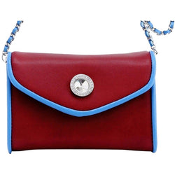 Eva Classic Clutch - Maroon and French Blue