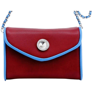 SCORE! Eva Classic Designer Stadium Approved Small Clutch Detachable Chain Crossbody Game Day Bag Event Team Sorority Purse - Maroon and Blue Pi Beta Phi