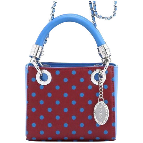 SCORE! Jacqui Classic Designer Stadium Approved Top Handle Satchel Polka Dot Detachable Chain Crossbody Square Game Day Bag Event Sorority Purse - Maroon and Blue ~ Pi Beta Phi