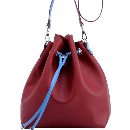SCORE! Sarah Jean Designer Shoulder Crossbody Purse Solid Extra Large Boho Bucket Game Day Bag Tote - Maroon and Blue Pi Beta Phi