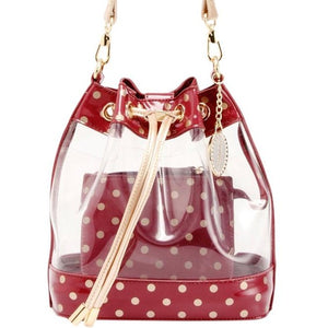 SCORE! Clear Sarah Jean Designer Stadium Shoulder Crossbody Purse Polka Dot Boho Bucket Game Day Bag Tote - Maroon Crimson and Gold