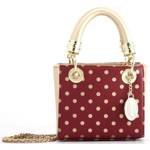 Jacqui Classic Satchel Polka Dot - Maroon and Metallic Gold