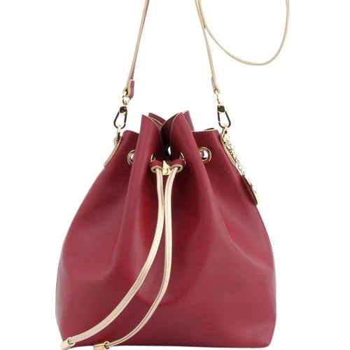 SCORE! Sarah Jean Designer Shoulder Crossbody Purse Solid Extra Large Boho Bucket Game Day Bag Tote - Maroon Crimson and Gold Gold