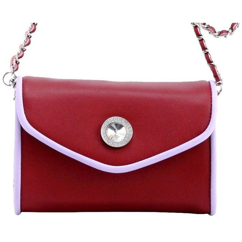 SCORE! Eva Classic Designer Stadium Approved Small Clutch Detachable Chain Crossbody Game Day Bag Event Team Sorority Purse - Maroon and Lavender Sigma Kappa