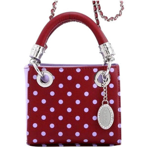 SCORE! Jacqui Classic Designer Stadium Approved Top Handle Satchel Polka Dot Detachable Chain Crossbody Square Game Day Bag Event Team Sorority Purse - Maroon and Lavender Sigma Kappa