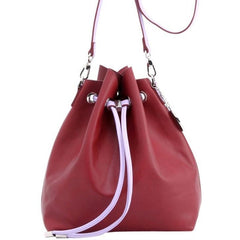 Sarah Jean Solid Bucket Handbag - Maroon and Lavender