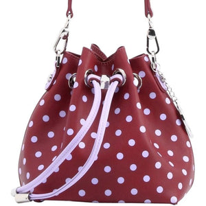 SCORE! Sarah Jean Designer Small Stadium Shoulder Crossbody Purse Polka Dot Boho Bucket Game Day Bag Tote - Maroon and Lavender Sigma Kappa
