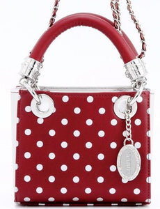 SCORE! Jacqui Classic Designer Stadium Approved Top Handle Satchel Polka Dot Detachable Chain Crossbody Square Game Day Bag Event Team Sorority Purse - Maroon and Silver