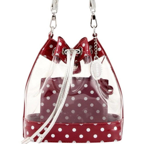 SCORE! Clear Sarah Jean Designer Crossbody Polka Dot Boho Bucket Bag-Maroon Crimson and Silver