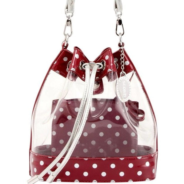 Sarah Jean Clear Bucket Handbag - Maroon and Silver