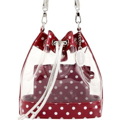 Chrissy Small Clear Game Day Handbag - Maroon and White