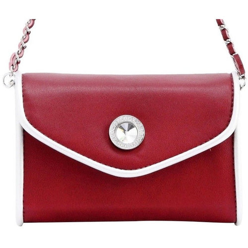 SCORE! Eva Classic Designer Stadium Approved Small Clutch Detachable Chain Crossbody Game Day Bag Event Team Sorority Purse - Maroon Crimson and Silver