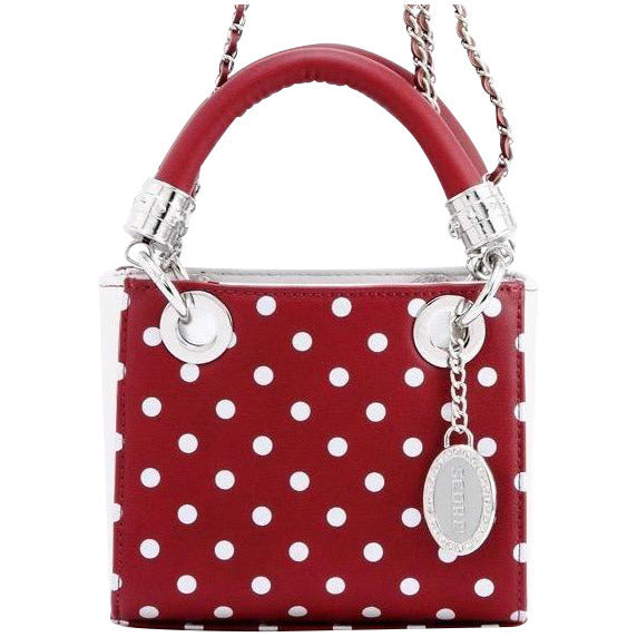 Jacqui Classic Satchel Polka Dot - Maroon and Silver