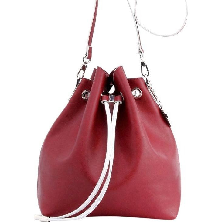 SCORE! Sarah Crossbody Large BoHo Bucket Bag - Maroon Crimson & Silver